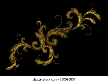 Golden Victorian Embroidery Floral Ornament. Stitch texture fashion print patch gold flower Baroque design element vector illustration