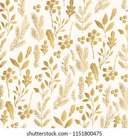 Golden vintage background with leaves and branches. Foil texture design.