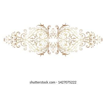 Golden vintage baroque ornament, corner. Retro pattern antique style acanthus.