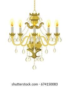 Golden vintage chandelier. Vector chandelier. Chandelier with candles. Vector illustration