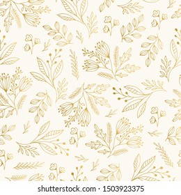 Golden vintage floral pattern with nature elements. Vector illustration. Christmas motif.