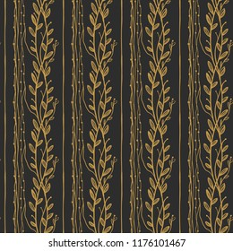 Golden vintage floral vector seamless pattern on dark background