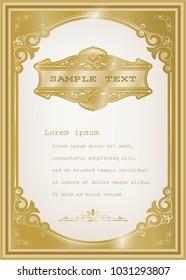 golden vintage frame with beautiful filigree, decorative border, premium decor elements, vector illustration