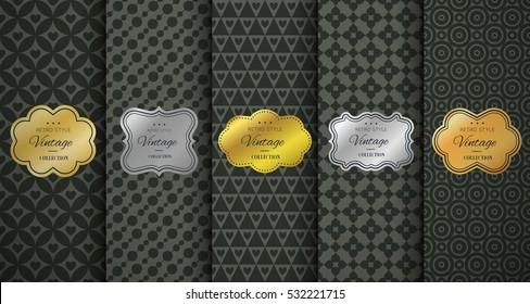 Golden vintage frame on black pattern background. Vector illustration for retro design. Gold abstract frame box. Label set. Elegant silver foil. Fashion dark interior pattern. Ornamental wallpaper