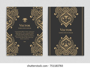 Golden vintage greeting card on a black background. Luxury floral ornament template. Great for invitation, flyer, menu, brochure, postcard, background, wallpaper, decoration, or any desired idea.