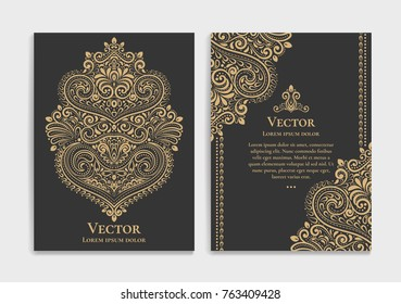 Golden vintage greeting card on a black background. Luxury ornament template. Great for invitation, flyer, menu, brochure, postcard, background, wallpaper, decoration, or any desired idea.