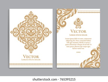 Golden vintage greeting card on a white background. Luxury ornament template. Great for invitation, flyer, menu, brochure, postcard, background, wallpaper, decoration, or any desired idea.