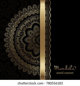 Golden vintage greeting card on a black background. Ethnic mandala pattern. Hand drawn vector illustration