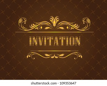 Golden vintage invitation card, vector illustration