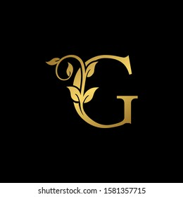 Golden Vintage Letter G Nature Floral  Leaves logo icon. Elegant Luxury design concept floral leaves with letter G gold color isolation on black background color.