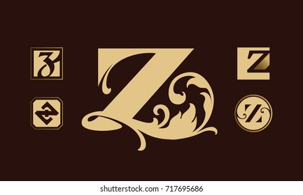 Golden vintage monograms set. Heraldic logos with letter Z.