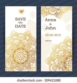 Golden vintage ornate cards. Outline floral decor. Golden flower. Template frame for save the date and greeting card, wedding invitation. Vector border with place for text. Easy to use, layered.