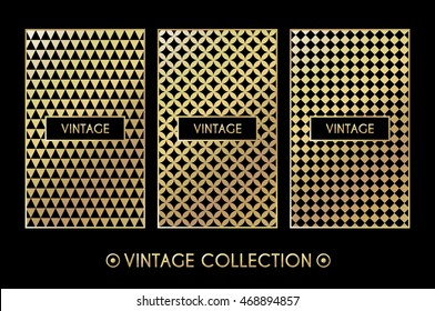 Golden vintage pattern on black background. Vector illustration for retro design. Gold abstract frame. Stylish decorative label set. Art decoration texture Linear elegant luxury foil Victorian fashion