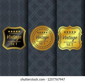 Golden vintage pattern on dark background. Vector illustration clip art. Golden abstract ornament. Set