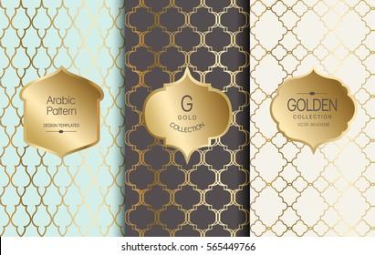 Golden vintage pattern. Vector illustration. Gold abstract frame. Label set. Arabic pattern.