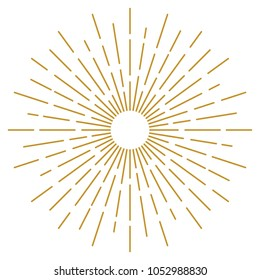 Golden Vintage Sunburst Design Vector Template