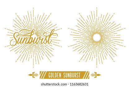 Golden Vintage Sunburst Vector Template
