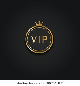 golden vip icon with crown and black background