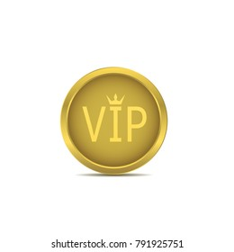 Golden VIP icon. Golden luxury royal award label