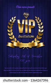 Golden VIP invitation template - type design with diamond and laurel wreath on blue curtain background. Vector illustration