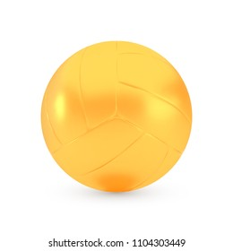 Golden volleyball award concept, shiny photo realistic metallic ball, 3d render with soft shadows and reflections, vector illustration isolated on white background