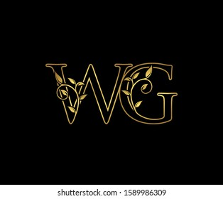 Golden W, G and WG Luxury Logo Icon, Classy Letter Logo Design.