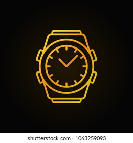 Golden watch line icon - vector wrist watch concept linear sign or design element on dark background