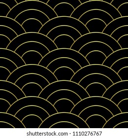 Golden wave seamless pattern. Luxury abstract geometric repeat background. Asian traditional gold backdrop, chinese wallpaper, textile print.