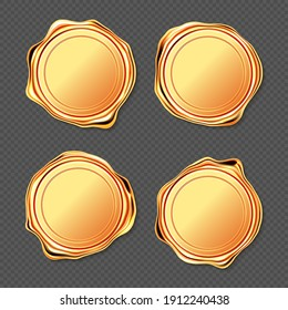Golden wax seal stamp approval sealing. Quality guarantee blank retro postal gold round labels, royal insignia for letter or document isolated on transparent background. Realistic 3d vector icons set