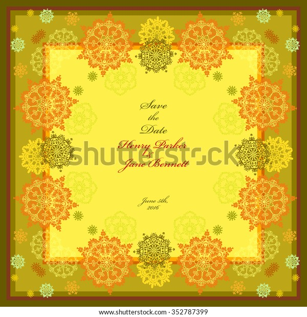 Golden Wedding Frame Yellow Orange White Stock Vector