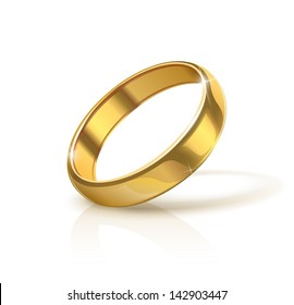 golden wedding ring vector illustration isolated on white background. eps10.  Transparent objects and opacity masks used for shadows and lights drawing