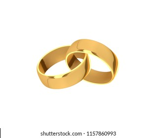 Golden wedding rings, realistic design isolated on white background.