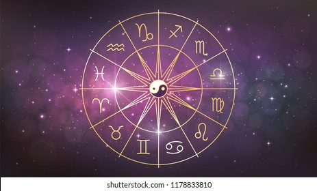 Golden wheel with twelve signs of the zodiac in cosmos, astrology, esotericism, prediction of the future.