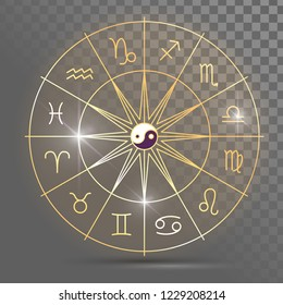 Golden wheel with twelve signs of the zodiac, astrology, esotericism, prediction of the future.