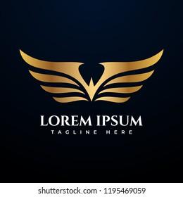 Golden wing logo vector