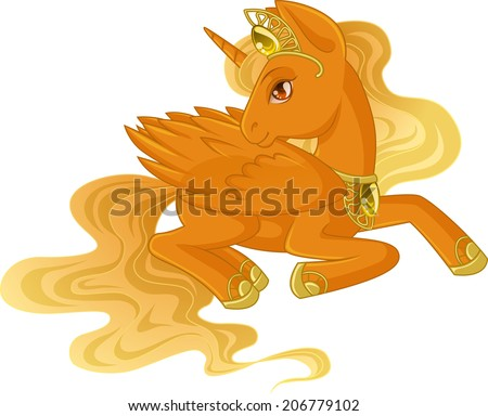 Golden Winged Unicorn With A Light Yellow Mane Is Lying