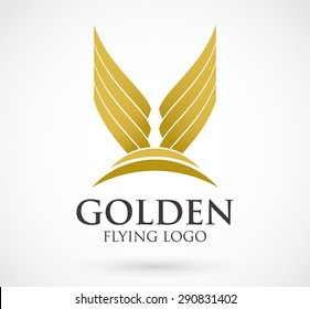 Golden wings flying logo element design vector shape icon symbol abstract airline elegant business company identity