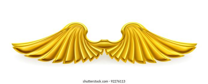 Golden wings, vector