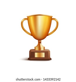Golden winner award first place cup or champion prize 3d vector illustration isolated on white background. Symbol of victory in sport and business competition icon.