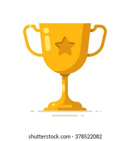 Golden winner cup. Award symbol. Vector flat illustration.