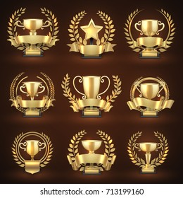 Golden winner trophy cups, prize sports awards with golden wreaths and ribbons. Emblem championship and leadership collection. Vector illustration