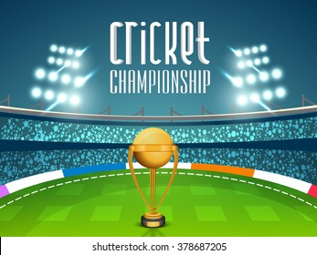 Golden Winning Trophy on night stadium lights background for Cricket Championship concept.