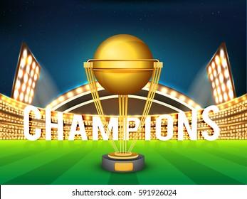 Golden Winning Trophy shining in Night Stadium Lights for Cricket Champions.