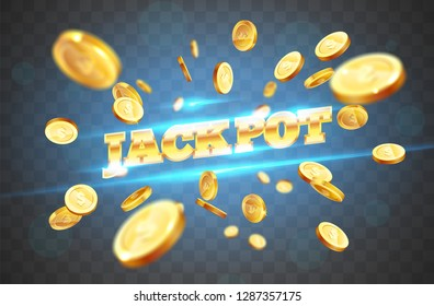 The golden word jackpot, amid the explosion of coins. Vector illustration on a transparent background
