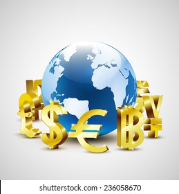 golden world currency symbols moving around 3d world for global economic concept, vector illustration