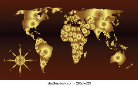 golden world map with compass rose