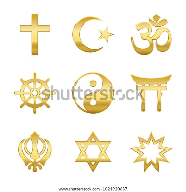 Golden world religion symbols. Signs of major religious groups and religions. Christianity, Islam, Hinduism, Buddhism, Taoism, Shinto, Sikhism and Judaism- isolated vector illustration.
