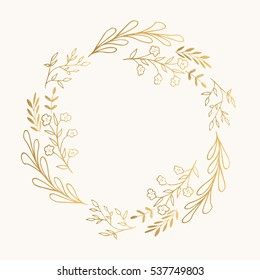 Golden wreath. Vector. Isolated.