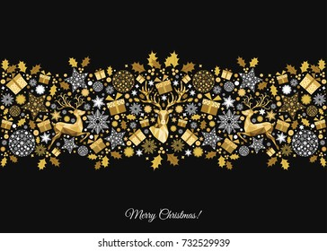 Golden Xmas  tree decoration on black  background. Happy New Year and  Christmas pattern. Gold   reindeer and  snowflakes. Vector template  for greeting  card or party invitation .