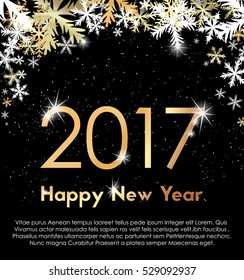 Golden year 2017 with snowflakes and sparks
